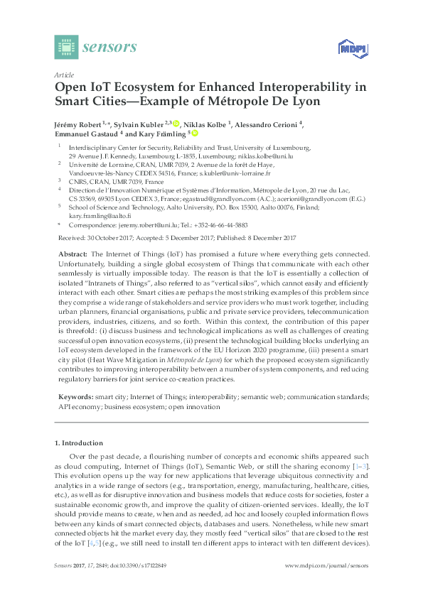 PDF) Open IoT Ecosystem for Enhanced Interoperability in