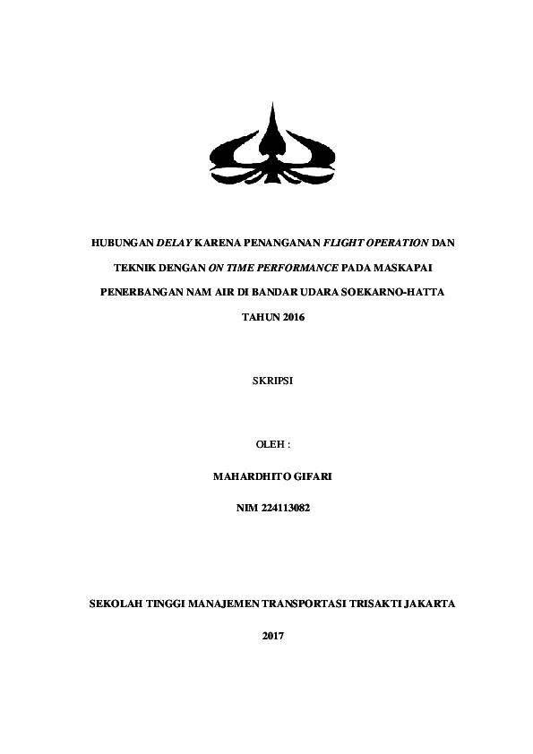 Pdf Skripsi Hubungan Delay Karena Penanganan Flight Operation