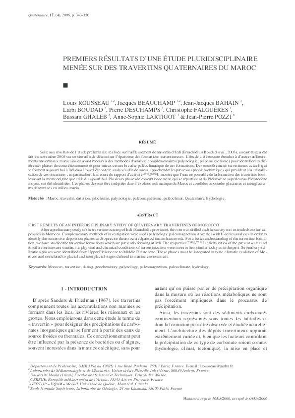 PDF) Premiers résultats d\'une étude pluridisciplinaire menée ...