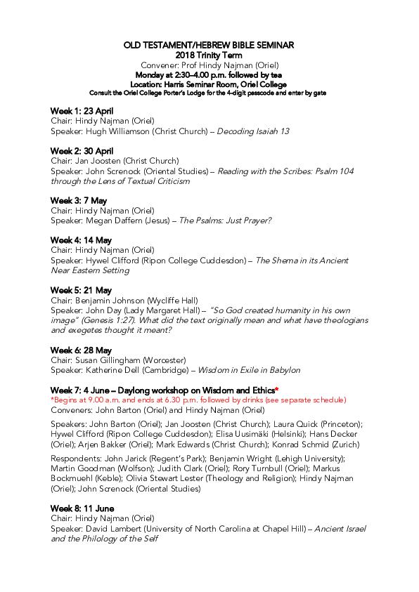PDF) Hebrew Bible/Old Testament Seminar Spring (TT) 2018 pdf