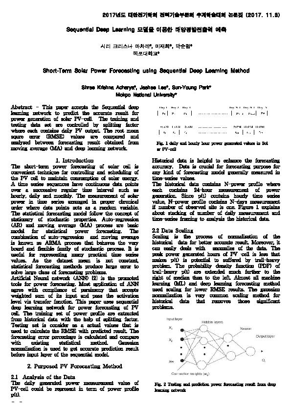 PDF) Sequential Deep Learning 모델을 이용한 태양광발전출력