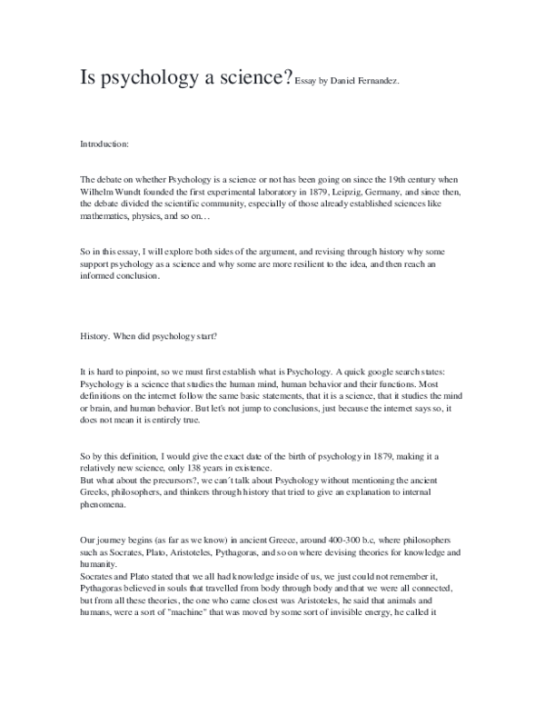 Is Psychology A Science  Daniel Daro Bustamante  Academiaedu Docx