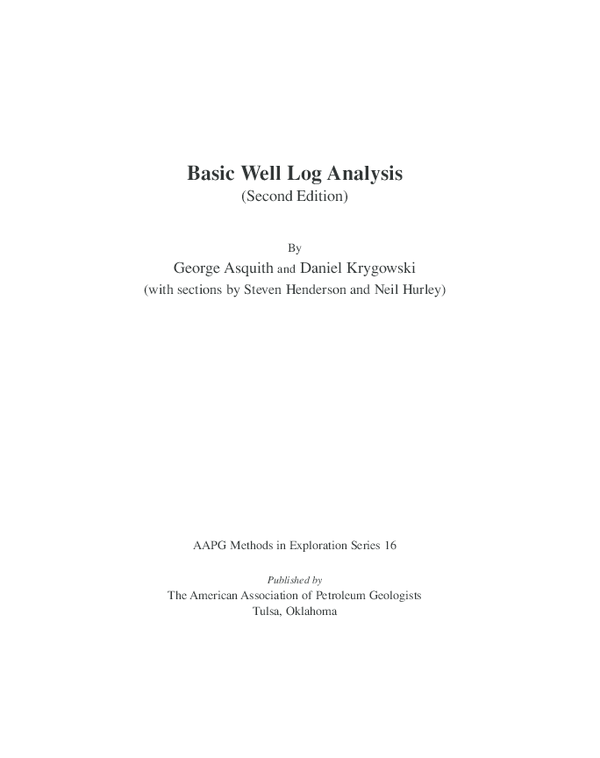 PDF) Basic Well Log Analysis (Second Edition)with sections
