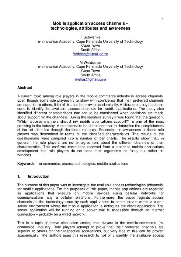 PDF) Mobile application access channels-technologies