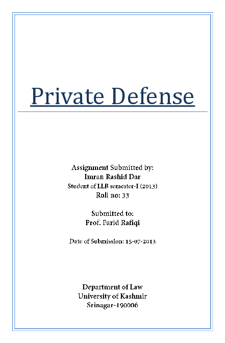 PDF) Right of Private Defense under Indian penal code