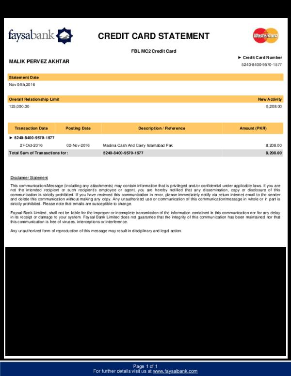 PDF) CREDIT CARD STATEMENT FBL MC12 Credit Card  jaffar hussain