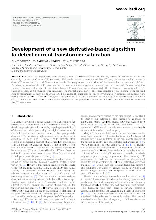 PDF) Development of a new derivative-based algorithm to detect
