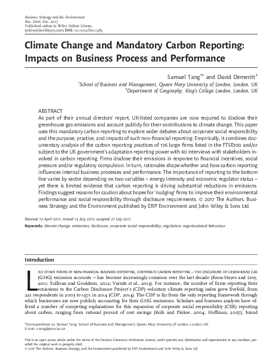 PDF) Climate Change and Mandatory Carbon Reporting: Impacts