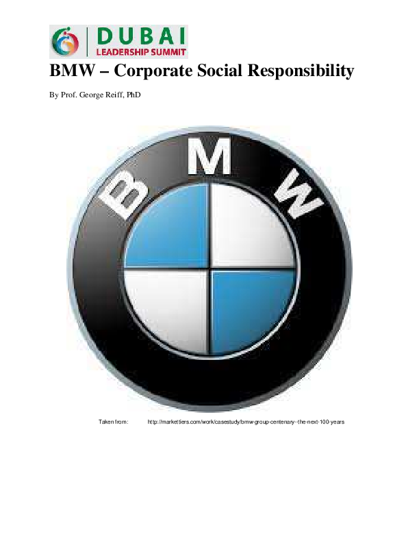 Pdf Bmw Corporate Social Responsibility Introduction Of The Bmw