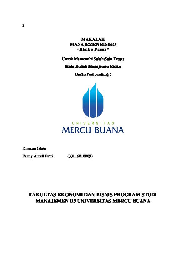 Doc Makalah Manajemen Risiko Risiko Pasar Fakultas Ekonomi Dan Bisnis Program Studi Manajemen D3 Universitas Mercu Buana Fanny Aurell Academia Edu