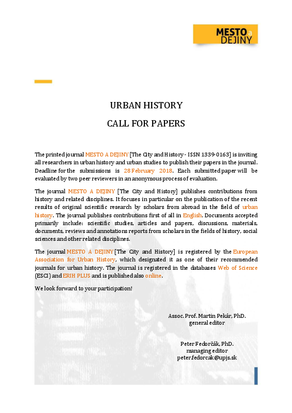 PDF) URBAN HISTORY CALL FOR PAPERS 2018   Peter Fedorčák and