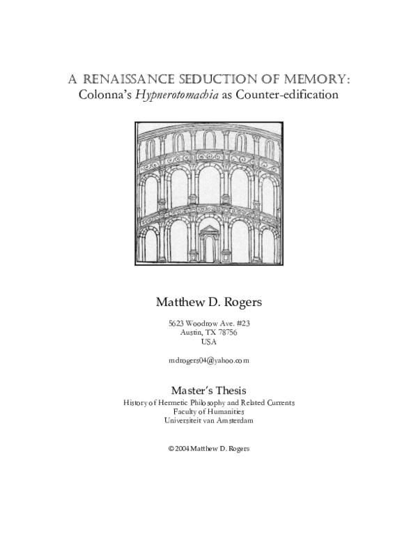 PDF) A Renaissance Seduction of Memory: Colonna's