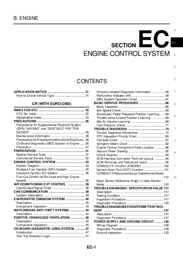 PDF) Nissan Note E11 ENGINE CONTROL SYSTEM | John C Bullas ... on