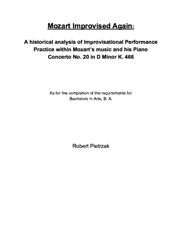 PDF) Mozart Improvised Again : A historical analysis of