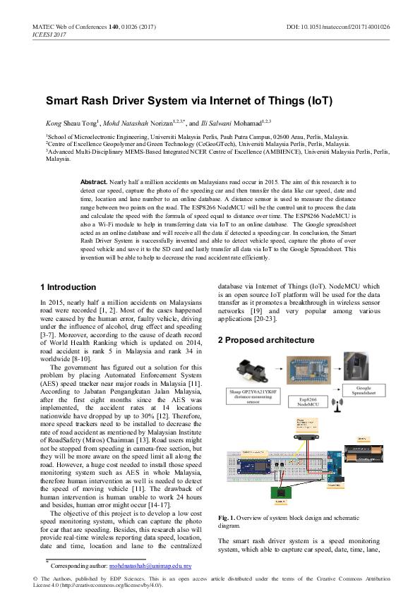 PDF) Smart Rash Driver System via Internet of Things (IoT