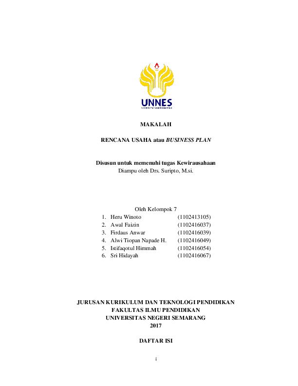Doc Makalah Rencana Usaha Atau Business Plan Firdaus Anwar Academia Edu