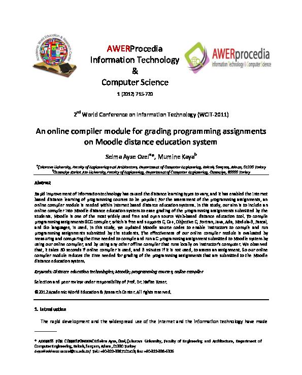 PDF) An online compiler module for grading programming