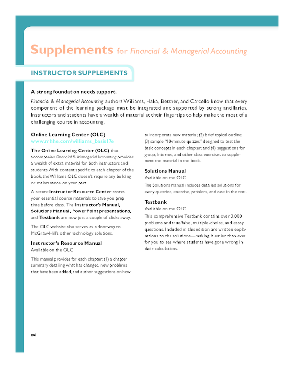 PDF) Supplements for Financial & Managerial Accounting