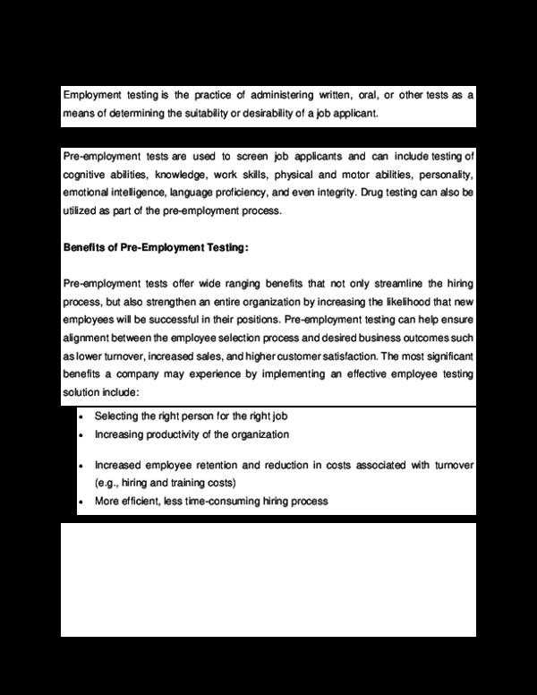DOC) Employment Testing   Tasmin Farina - Academia edu