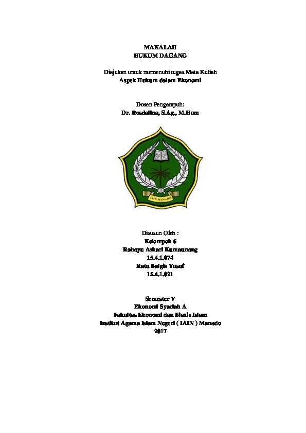 Doc Makalah Hukum Dagang Rahayu Ashari And Balgis Yusuf Academia Edu