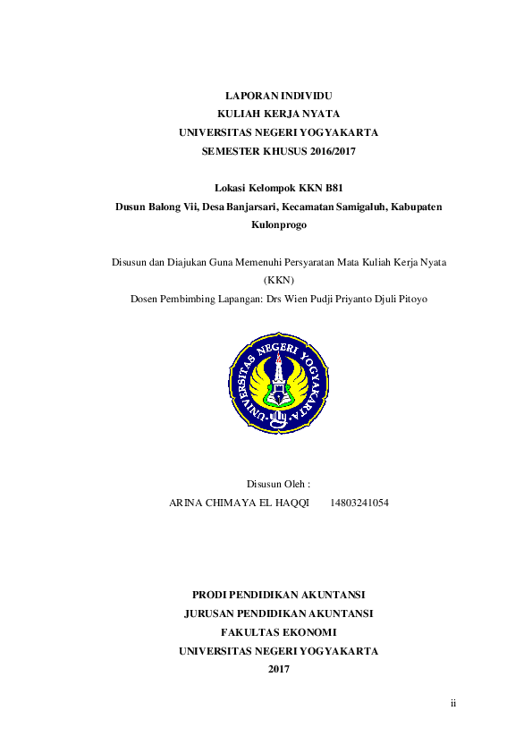 Pdf Laporan Kkn Individu Banjarsari 2017 Arina Chimaya Academia Edu