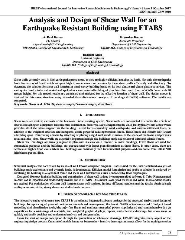 PDF) Analysis and Design of Shear Wall for an Earthquake