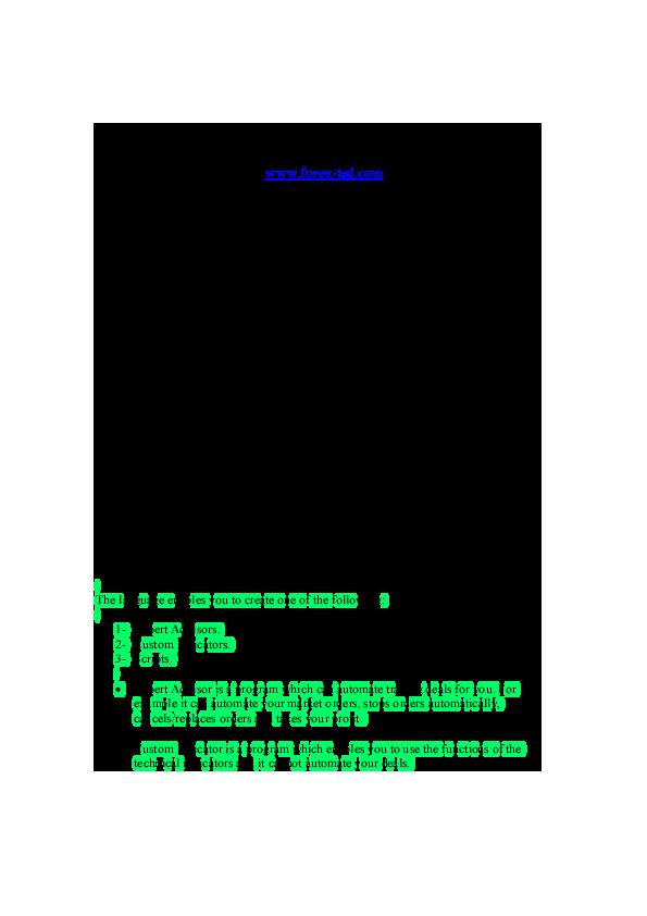 PDF) MQL4 COURSE | Lebo Mogano - Academia edu