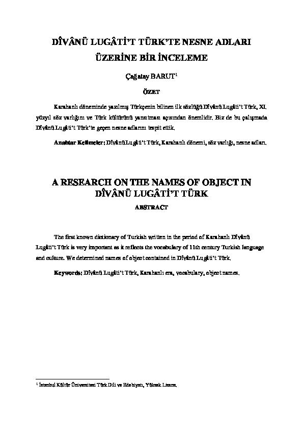 A Research On The Names Of Object In Dîvânü Lugâtit Türk çağatay