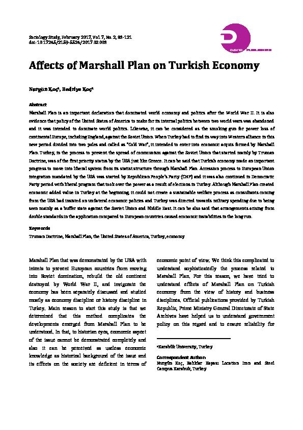PDF) Affects of Marshall Plan on Turkish Economy | Nurgün