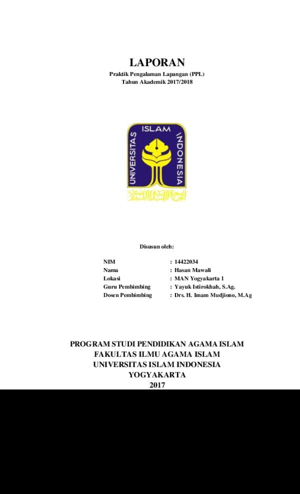 Pdf Laporan Praktik Pengalaman Lapangan Ppl Hasan Mawali Academia Edu