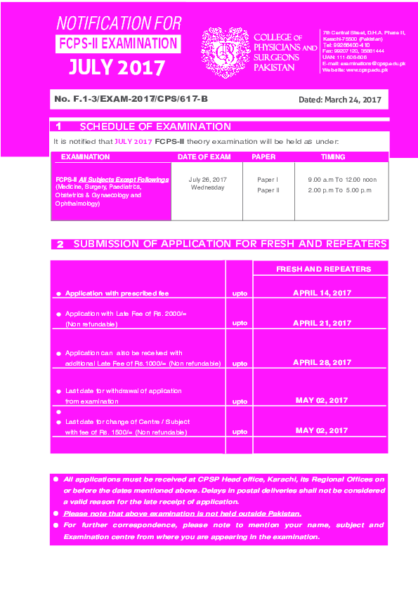 PDF) FCPS-II EXAMINATION EXAMINATION DATE OF EXAM PAPER TIMING FCPS