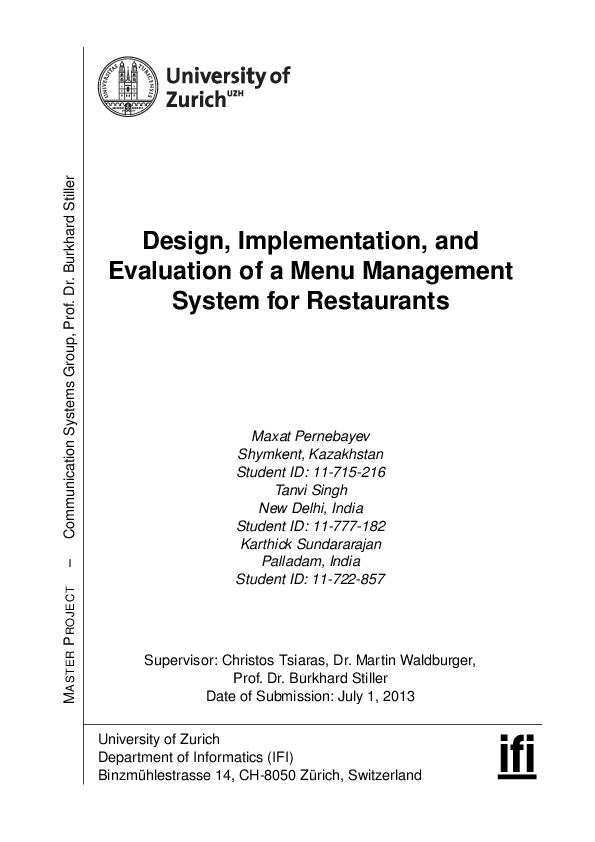 Pdf Design Implementation And Evaluation Of A Menu Management System For Restaurants Ahmed Eshetu Academia Edu