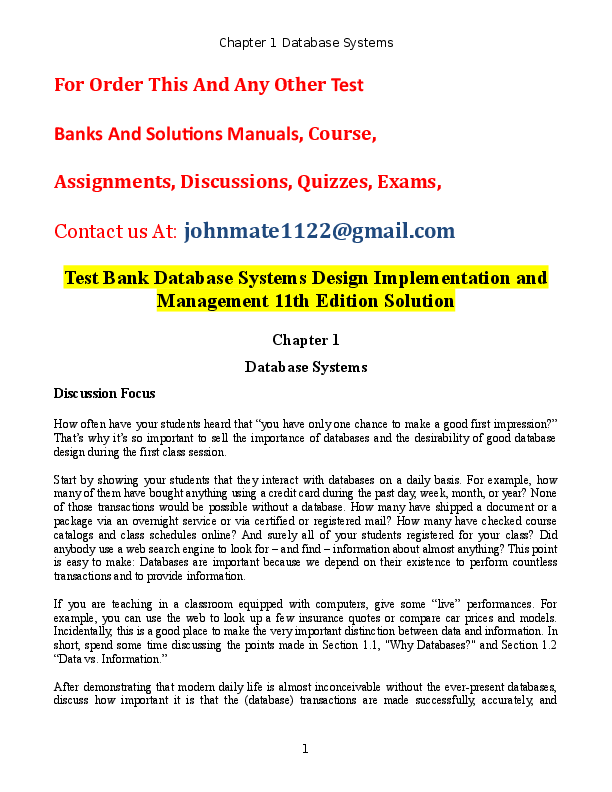 DOC) Test Bank Database Systems Design Implementation and Management