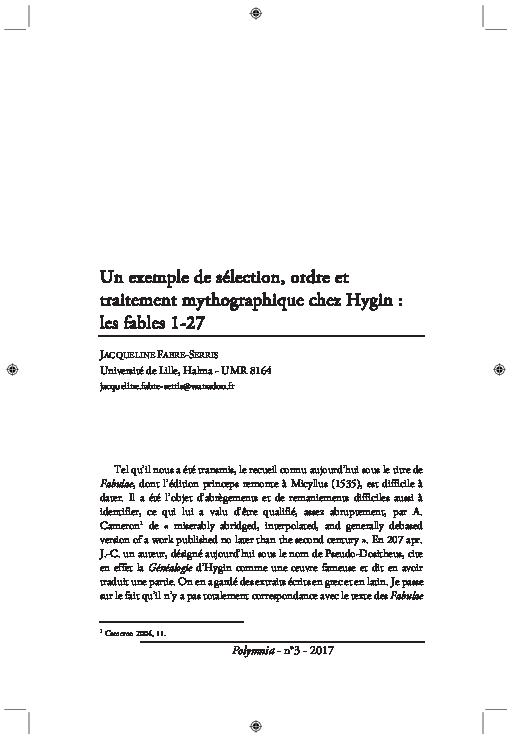 (PDF) Un exemple de sélection, ordre et traitement ...