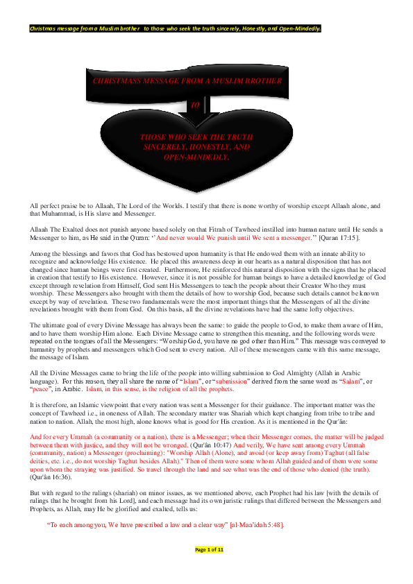 PDF) Christmas message from a Muslim brother to those who