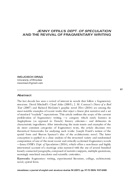 Pdf Jenny Offill S Dept Of Speculation And The Revival Of