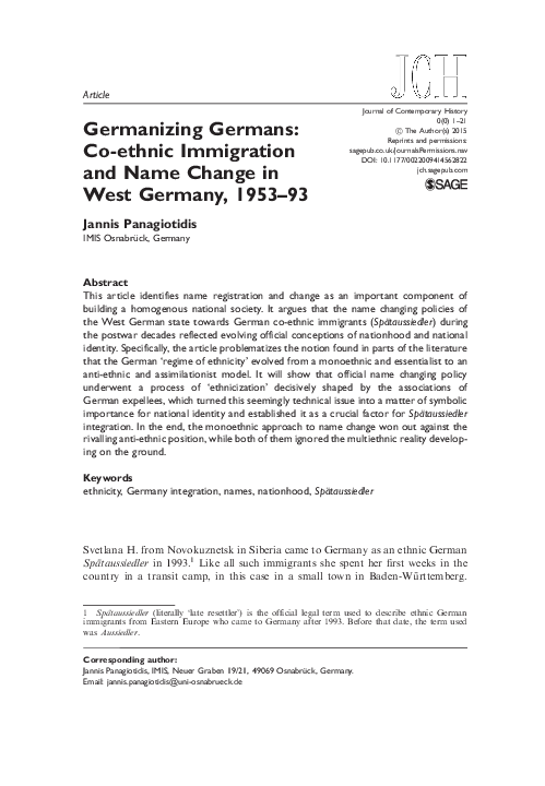PDF) Germanizing Germans: Co-Ethnic Immigration and Name
