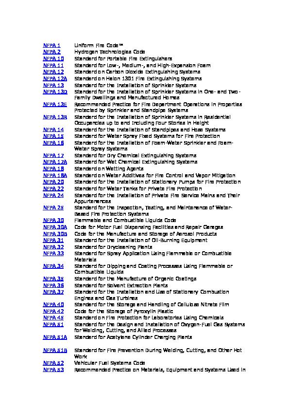 DOC) List NFPA Code Standard   PT  Bahana Cipta Internusa