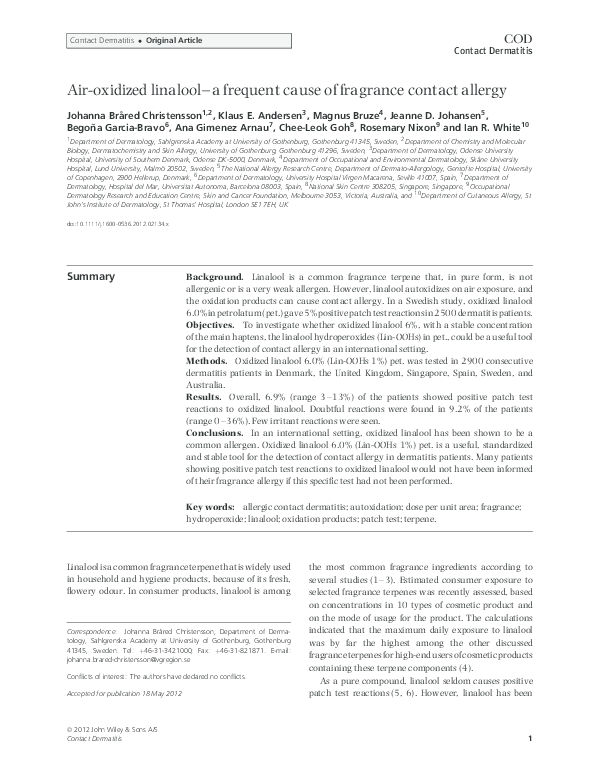 Pdf Air Oxidized Linalool A Frequent Cause Of Fragrance