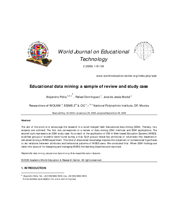 PDF) Educational data mining: a sample of review and study