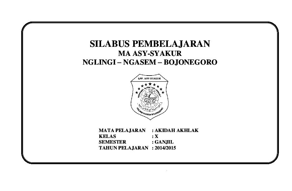 Doc 243765691 Silabus Akidah Akhlak Kelas X Semester Ganjil Docx Docx Abdul Wafi Academia Edu