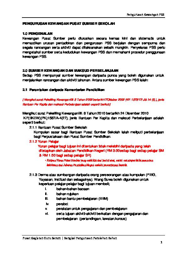 Pdf Pengurusan Kewangan Pss Norazian Aziz Academia Edu