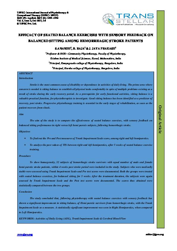 PDF) EFFICACY OF SEATED BALANCE EXERCISES WITH SENSORY