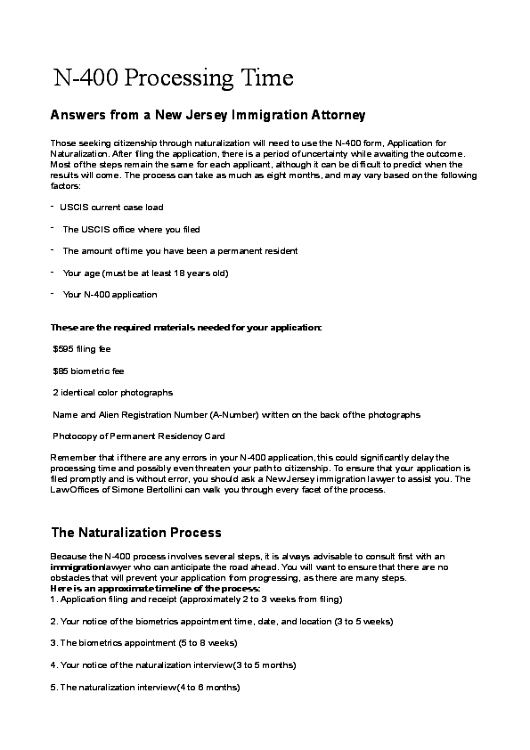 PDF) N-400 Processing Time  Answers from a New Jersey