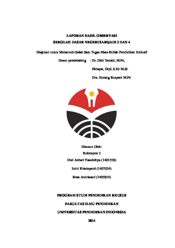 Pdf Laporan Observasi Pendidikan Inklusif 2014 Dwi Azhari Yassinthya Academia Edu