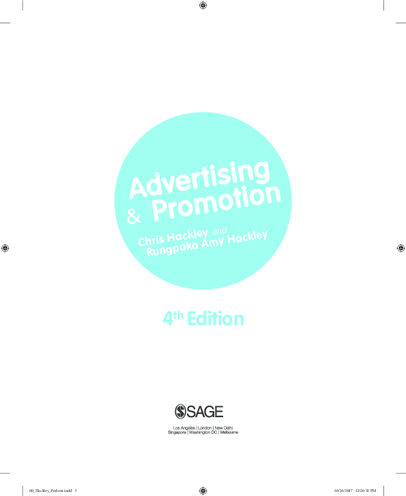 Pdf Advertising And Promotion 4th Edition 2018 Sample Chapter Chris Hackley Academia Edu
