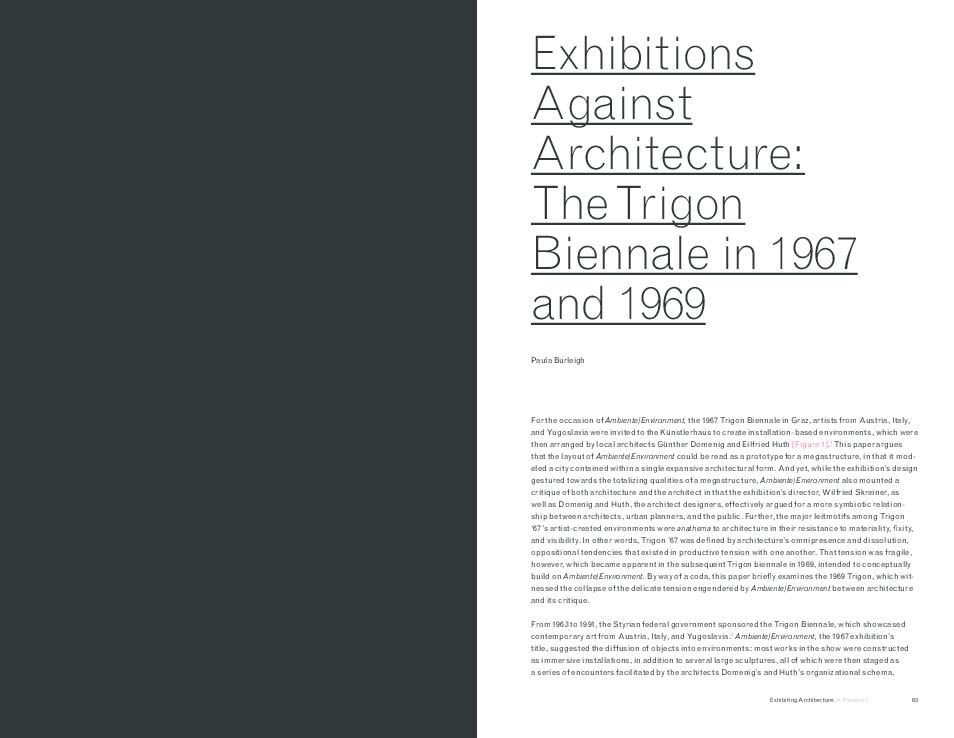 PDF) Exhibitions Against Architecture: The Trigon Biennale in 1967