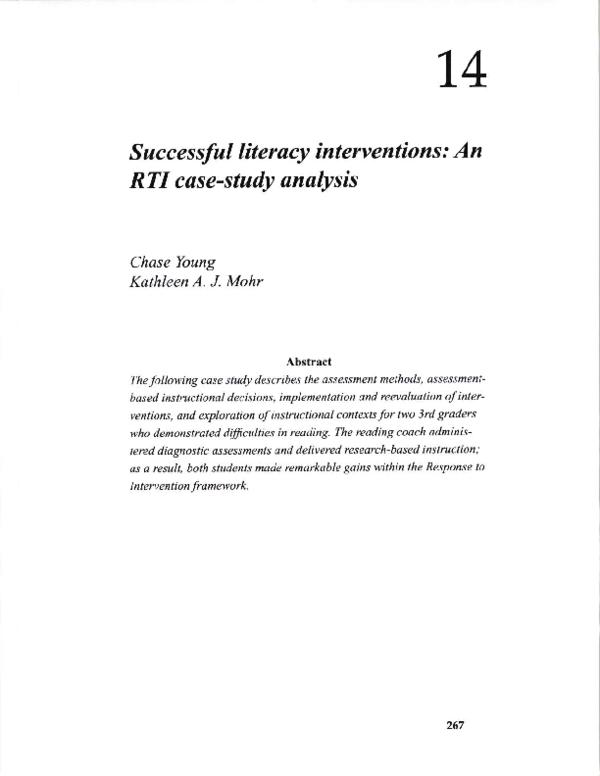 PDF) Successful Literacy Interventions: An RtI Case-Study Analysis