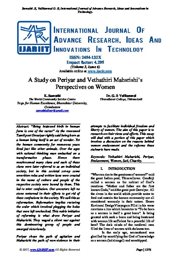 PDF) A Study on Periyar and Vethathiri Mahsrishi's