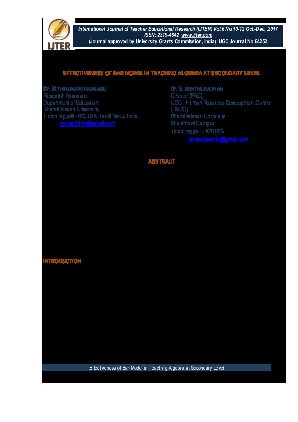 PDF) Effectiveness of Bar Model in Teaching Algebra at